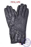 Оптом женские кожаные зимние перчатки на меху кролика (мех искусственный) - F27-6, фото 1