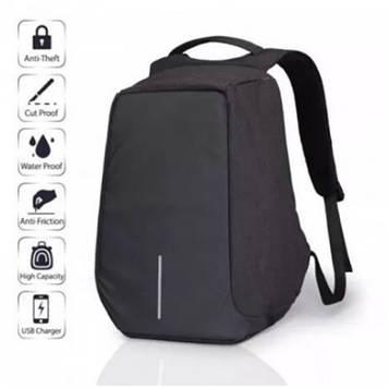 Городской рюкзак антивор с разъемом usb для зарядки гаджетов черного цвета TRAVEL BAG 9009