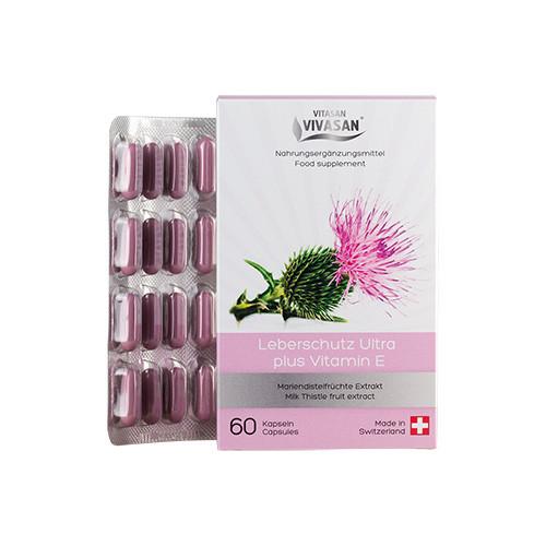 Ультра-захист печінки розторопша в капсулах Leberschutz Ultra plus Vitamin E Вівасан Швейцарія 60 шт