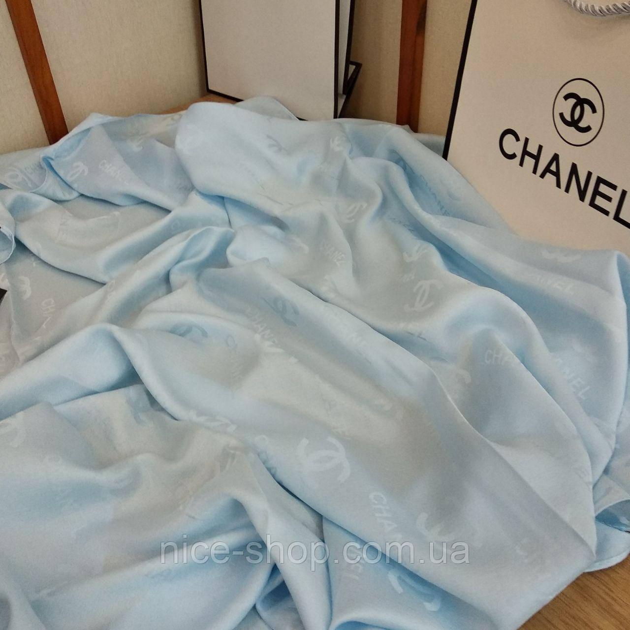 Шелковый брендовый платок, небесно-голубой