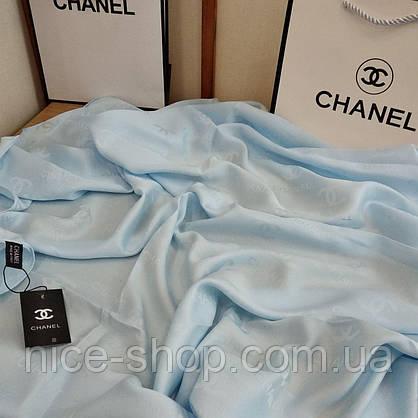 Шелковый брендовый платок, небесно-голубой, фото 3