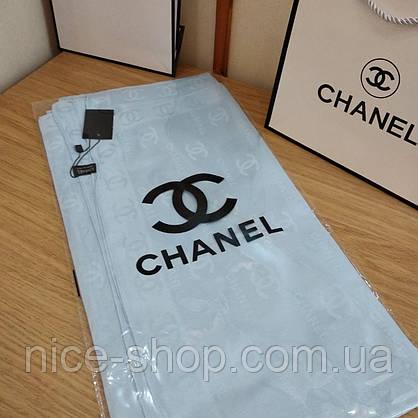Шелковый брендовый платок, небесно-голубой, фото 2