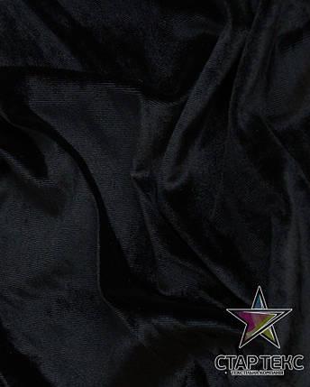 Бархат (Оксамит) стрейч Черный, фото 2
