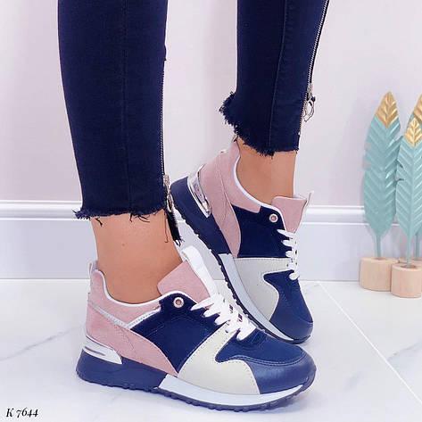 Кроссовки женские синие + розовые из эко замши. Кросівки жіночі сині + рожеві, фото 2
