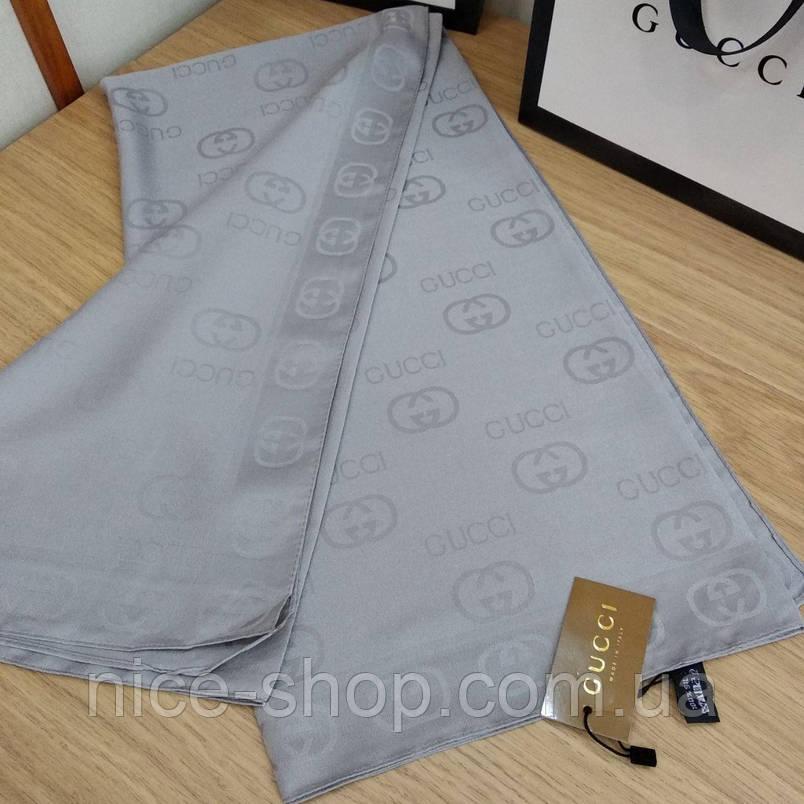 Платок Gucci стальной, шелк, фото 2