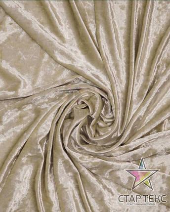 Бархат (Оксамит) стрейч светло-бежевый, фото 2