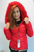 Куртка зимняя женская 836 красная  код 624а