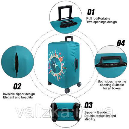 Чохол для середнього валізи з принтом котячі лапки, фото 2