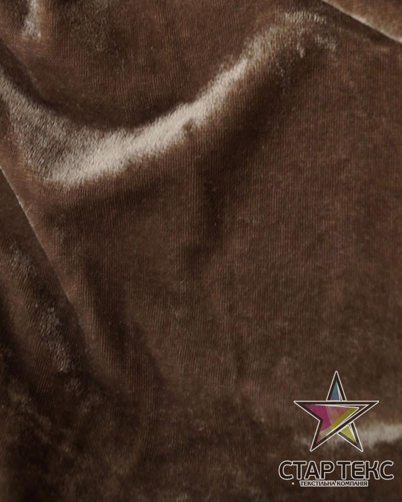 Бархат (Оксамит) стрейч темно-бежевый