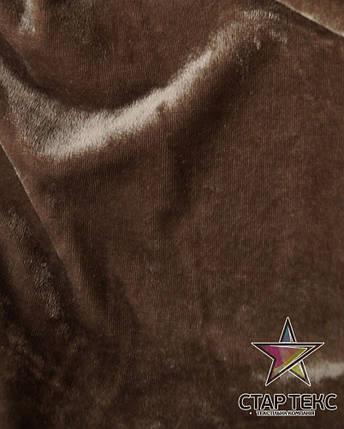 Бархат (Оксамит) стрейч темно-бежевый, фото 2
