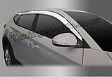 Дефлекторы окон, ветровики хромированные Hyundai Tucson 2015-2020 (Autoclover D623), фото 5