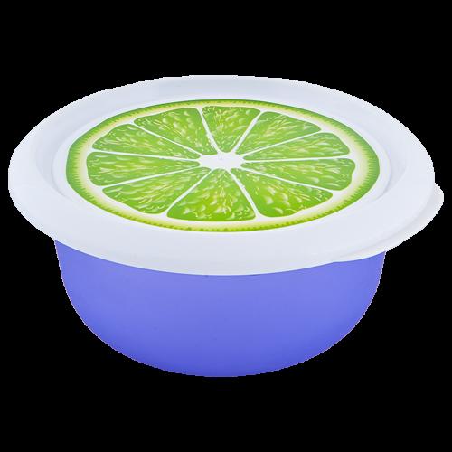 Миска пищевая пластиковая с крышкой АЛЕАНА фиолетовый с декором 1.75л