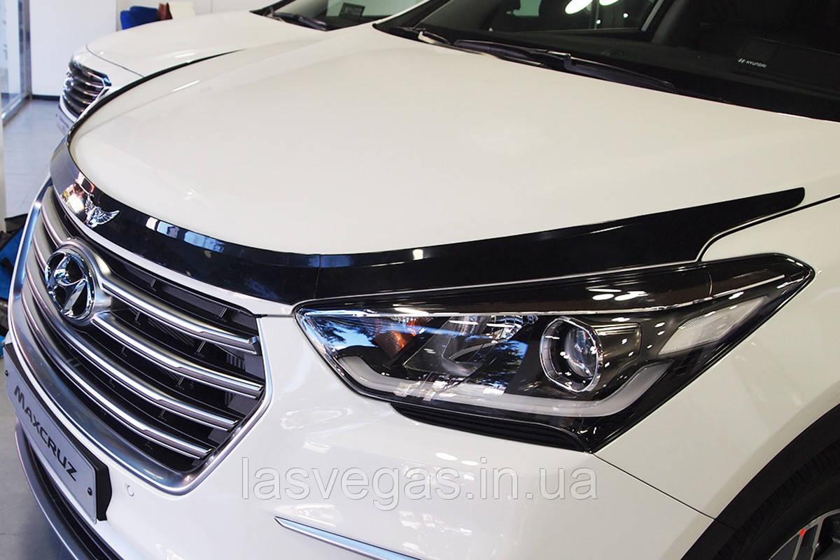 Дефлектор капоту (мухобійка) Hyundai Santa Fe 2012-2017 (Autoclover D543)