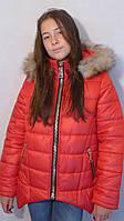 Детская одежда.  Куртка зимняя -парка(красная)