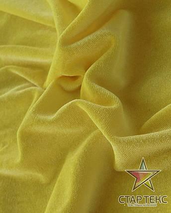 Бархат (Оксамит) стрейч лимнонно желтый, фото 2