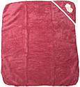 Детское полотенце с уголком после купания 80х90 махровое с капюшоном малиновое для новорожденных малышей девочке Ю750, фото 2