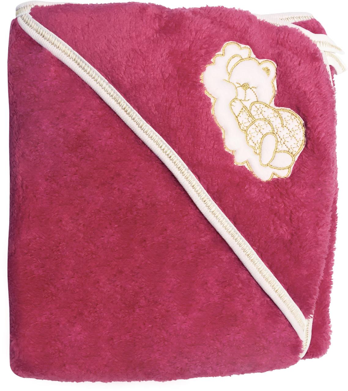 Детское полотенце с уголком после купания 80х90 махровое с капюшоном малиновое для новорожденных малышей девочке Ю750