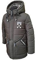 Зимняя удлиненная куртка-парка для мальчика на овчине 110,116,122,128,134,140,146
