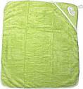 Рушник з куточком після купання для новонароджених малюків 80х90 хлопчику дівчинці з капюшоном махра салатовий, фото 2