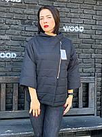Легкая куртка ветровка есть большие размеры арт. 524 батал матовый чёрный / черного цвета