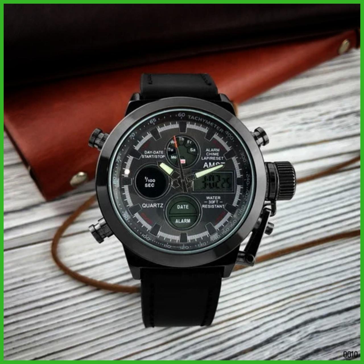 Качественные мужские армейские наручные часы AMST 3003 All Black .Оригинал
