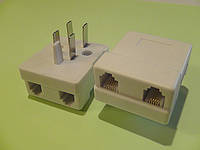 Вилка-адаптер телефонная белая