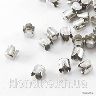 Конус Шапочки для Бусин, Железные, 6.5×7 мм, отв. 1 мм, Цвет: Платина (50 шт.)
