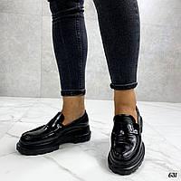 Лаковые лоферы туфли на платформе, фото 1