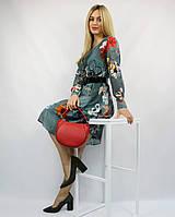 Коктейльное нарядное платье-мини шифоновое бирюзовое ЛЮКС-качество с рукавом на свадьбу на выпускной