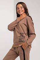 Детский спортивный костюм для девочки в школу шоколадного цвета с манжетами размеры 158, 164, 152