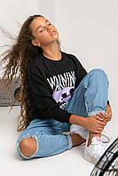 Черный свободный свитшот для девочки-модницы для школы и прогулок 152, 158, 164