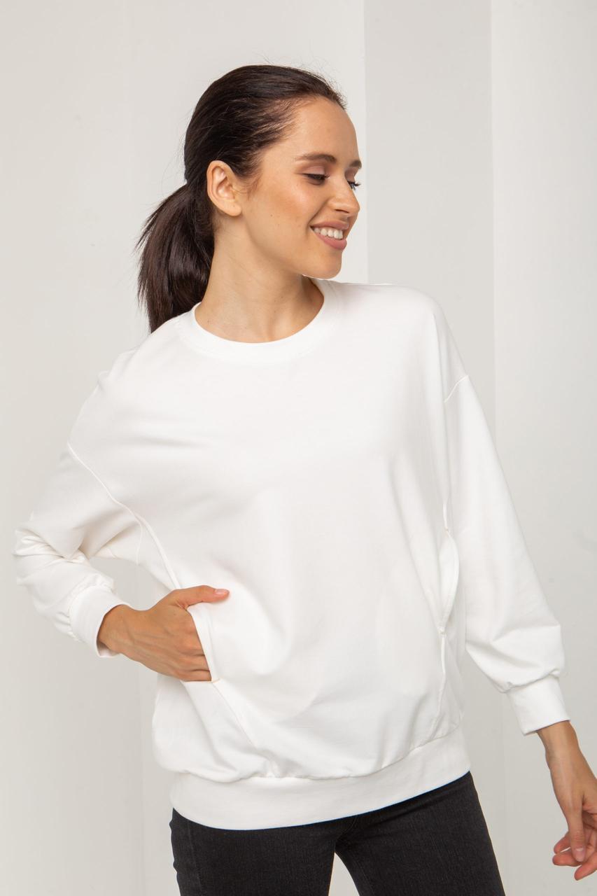 Трикотажный белый женский свитшот с круглой горловиной XXS, XS, S, М