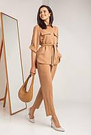 Шикарный брючный костюм для женщин рубашка и брюки цвета кэмел XS, S, M