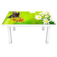 Интерьерная наклейка на стол Бабочка 02 (ПВХ пленка для мебели виниловая 3D) трава ромашки зеленый 600*1200 мм