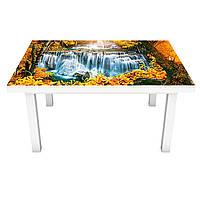 Интерьерная наклейка на стол Осень в лесу (ПВХ пленка для мебели виниловая 3D) листья водопад 600*1200 мм, фото 1