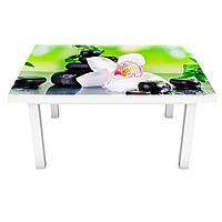 Интерьерная наклейка на стол Орхидея и Бамбук 02 (ПВХ пленка для мебели виниловая 3D) черные камни 600*1200 мм, фото 1