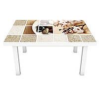 Интерьерная наклейка на стол Охра 02 (ПВХ пленка для мебели винил 3D) коллаж песок текстура беж 600*1200 мм