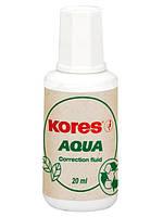 Корректор-жидкость Kores AQUA, водная основа с кисточкой 20 мл.