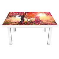 Интерьерная наклейка на стол Осенний сад лес (ПВХ пленка для мебели виниловая 3D) деревья осень 600*1200 мм, фото 1