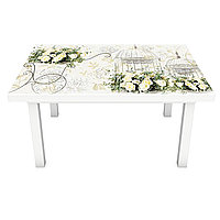 Интерьерная наклейка на стол Винтажные розы (ПВХ пленка для мебели виниловая 3D) цветы бежевый 600*1200 мм, фото 1