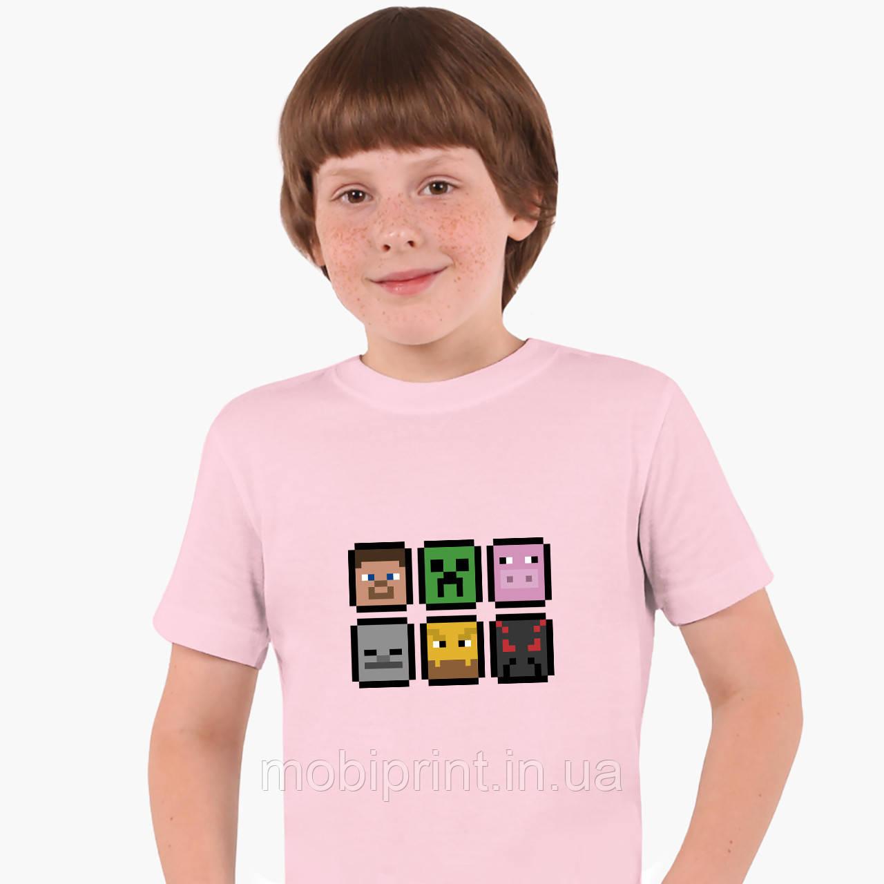 Детская футболка для мальчиков Майнкрафт (Minecraft) (25186-1173) Розовый