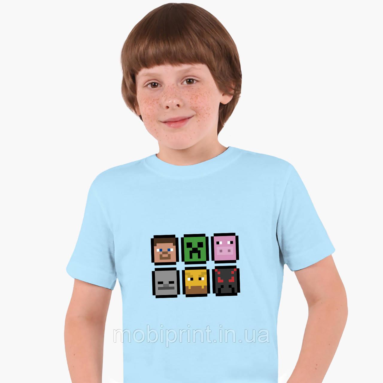 Детская футболка для мальчиков Майнкрафт (Minecraft) (25186-1173) Голубой