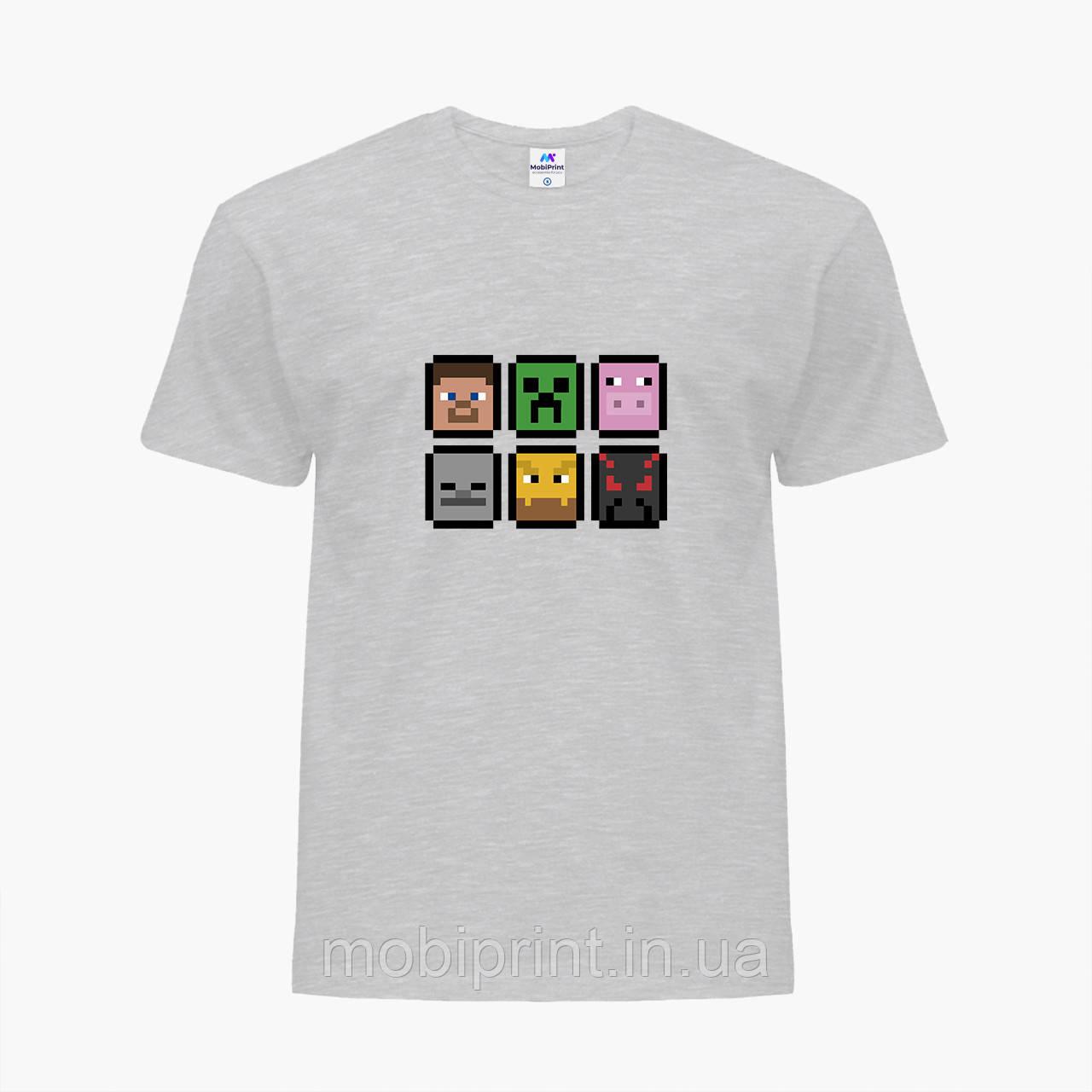 Детская футболка для мальчиков Майнкрафт (Minecraft) (25186-1173) Светло-серый