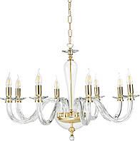 Изысканная стеклянная люстра с хрусталем Ondaluce Lampadario Paganini Oro (8 ламп, Italy)