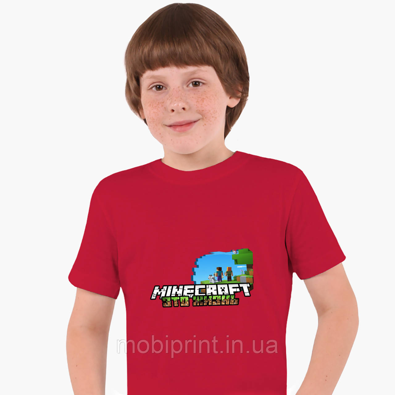 Детская футболка для мальчиков Майнкрафт (Minecraft) (25186-1170) Красный