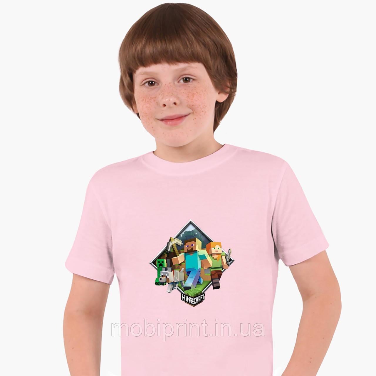 Детская футболка для мальчиков Майнкрафт (Minecraft) (25186-1175) Розовый