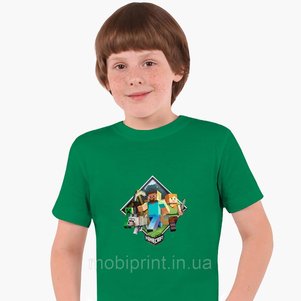 Детская футболка для мальчиков Майнкрафт (Minecraft) (25186-1175) Зеленый