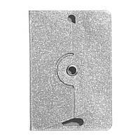 """Универсальный поворотный чехол для планшета 10 дюймов (10"""") Glitter серебристый"""