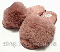 Женские тапочки с  мехом и открытым носком. Модель тапочки ЖТ1 пудра