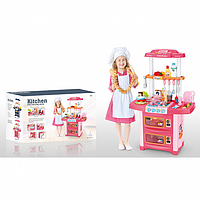 Многофункциональная детская Кухня WD-P38 плита, гриль, вода из крана, посуда, продукты, свет, звук